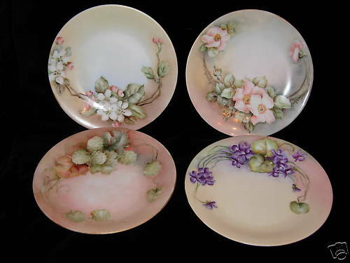 Limoges Hand Painted Plates 4 D & Co Delinieres 7 12""