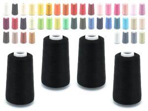 4-x-Konen-Overlock-Garn-je-5000-Y-Naehgarn-120-140-Staerke-40-2-50-2-viele-Farben