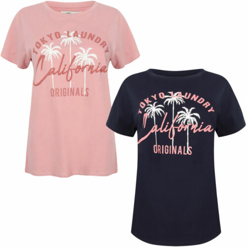 New Womens Tokyo Laundry Jemima Crew Neck Cotton Printed T-Shirt Size 10//S-16//XL