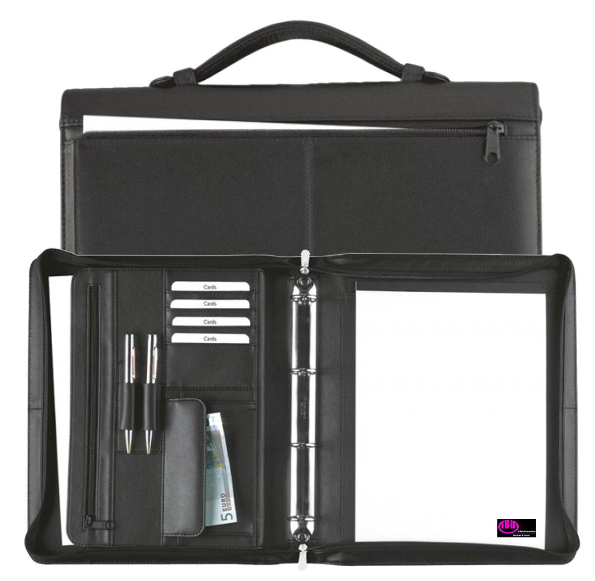 Ringbuchmappe A4 mit Reißverschluss– Rindnappaleder schwarz – von FIHA-Promotion   Sale    Bevorzugtes Material    Zuverlässige Qualität