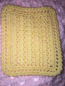 HAND CROCHET MINIATURE DOLLHOUSE BLANKET Light Yellow
