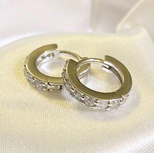 Small-White-Gold-Hoop-Sim-Diamond-Earrings-12x12x3mm-18k-Gold-GF-Plum-UK-BOXED