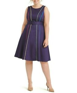 ModCloth-Sleeveless-Piped-Navy-Midi-Fit-And-Flare-dress-Size-XL-No-Belt