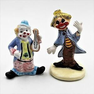 Ceramic-Clown-Figurines-Circus-Funny-Creepy-Scary-4-034-and-4-5-034-Tall-Lot-of-2