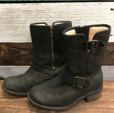 f96274bcdf0 UGG Australia Chaney Bomber Black Leather BOOTS Womens 7 * for sale ...