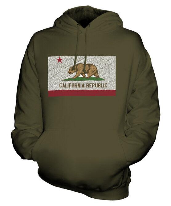 CALIFORNIA STATE SCRIBBLE FLAG UNISEX HOODIE TOP GIFT CALIFORNIAN FOOTBALL