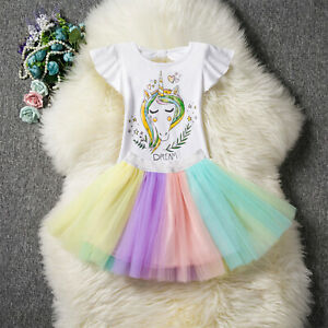 2PC-Children-Kids-Girl-Clothes-Unicorn-Top-T-shirt-Tutu-Skirt-Outfit-Party-Dress