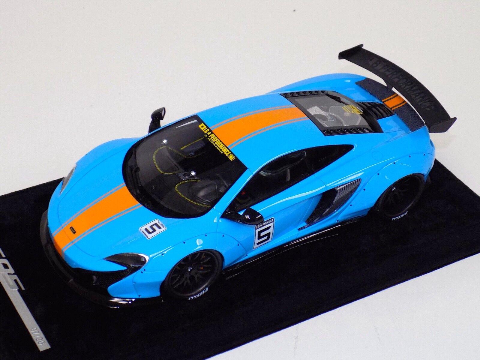 1 18 AB Models McLaren 650 S LB Performance Liberty walk Baby bluee orange Stripe