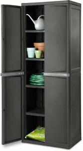 4 Shelf Lockable Cabinet Storage Organizer Pantry ...