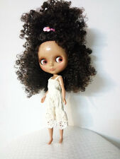 "12"" Neo Blythe Doll Tan Skin Black Mix Brown Curly Hair from Factory Nude Doll"