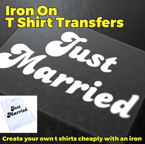 Just Married Iron On Transfer Hen Party Wedding Party Create Cheap T Shirts