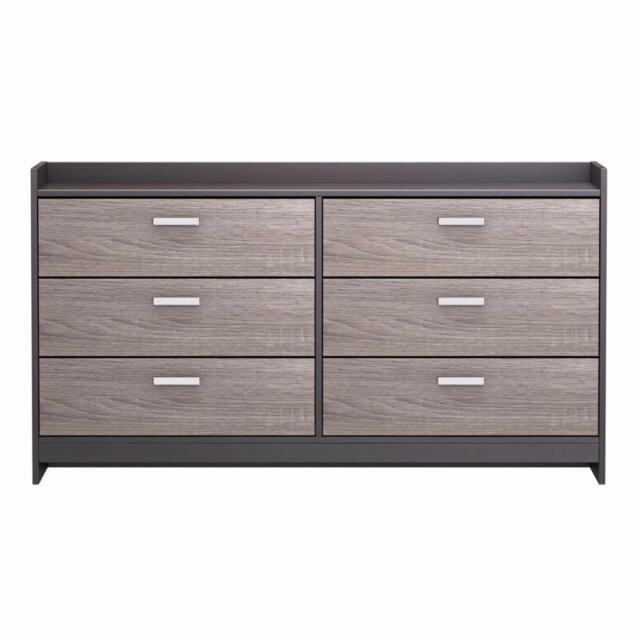 Modern Rustic Gray Brown 6 Drawer Dresser Chest Bedroom Storage Metal Pulls