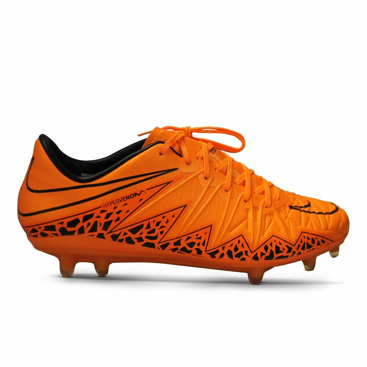 Nike Hypervenom phinish Tierra Firme Botines De Fútbol-Tamaño 7.5 Negro Naranja