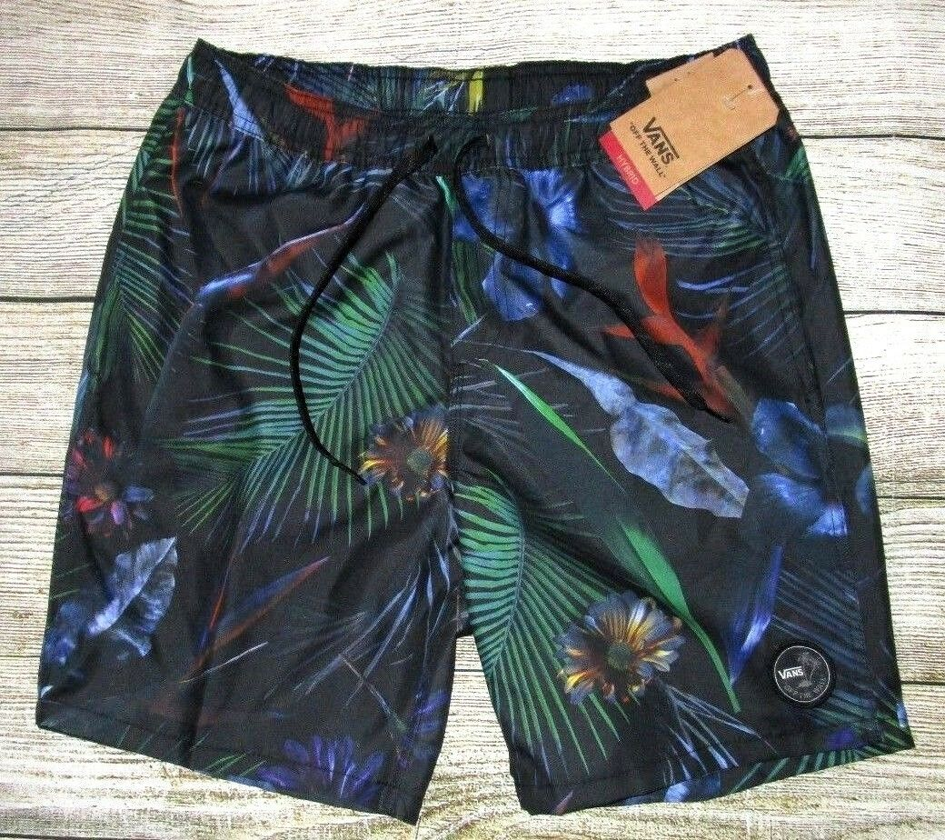 MENS VANS TROPICAL FLORAL DRAWSTRING HYBRID SWIM BOARD SHORTS SIZE XL