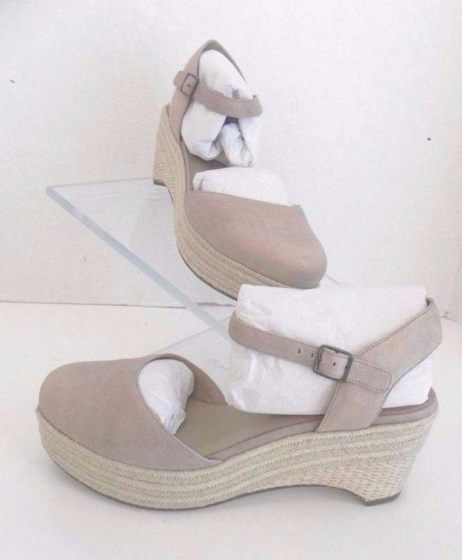 A la venta con descuento del 70%. Eileen Fisher forma Platino Metálico Dusted Cuero Calzado Alpargatas de de de cuña de 8, 9.5  descuento de bajo precio