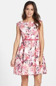 42125d12a425 Image is loading ELIZA-J-FLORAL-FAILLE-FIT-amp-FLARE-DRESS-