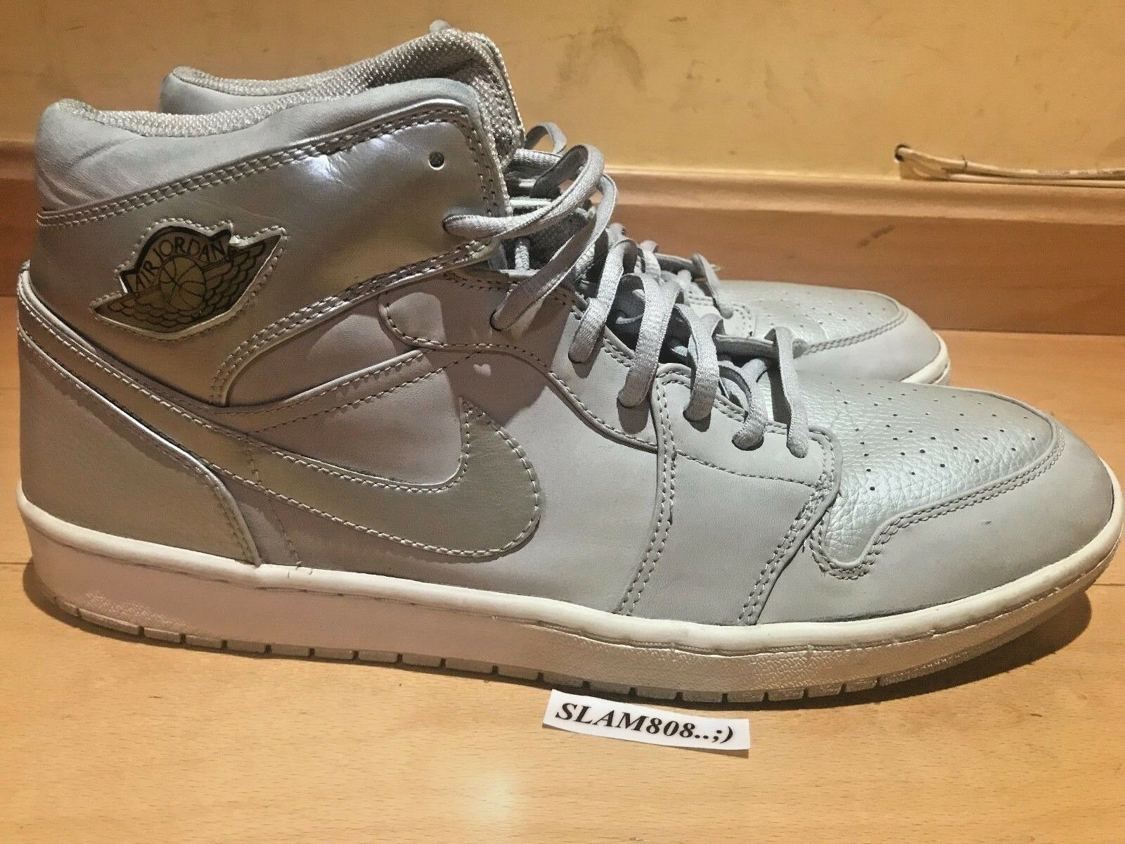 NIKE AIR JORDAN 1 RETRO+ 2001 GREY METALLIC SILVER SZ15 UK14 EU49.5 RARE
