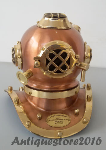 Antique U.S Navy Mark V Solid Brass Steel Scuba Diving Divers Vintage Helmet..