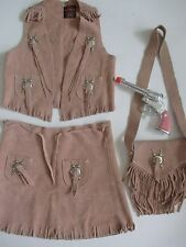 Cowgirl Leather Girl M Outfit Skirt Vest Purse Pink Gun John Craighead Cowboy US