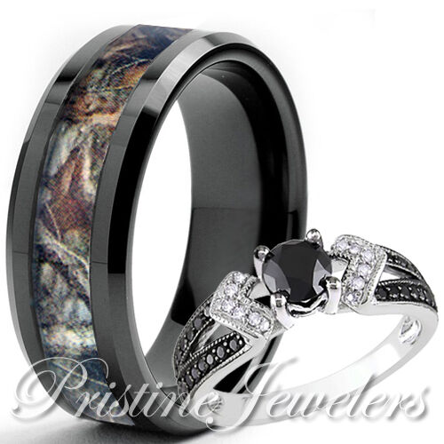her sterling silver ring his black titanium mossy tree camo men oak wedding band - Mens Camo Wedding Rings