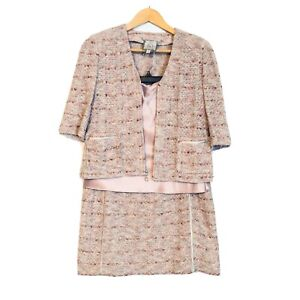 St-John-Couture-Womens-Three-Piece-Boucle-Metallic-Skirt-Suit-Pink-Size-2