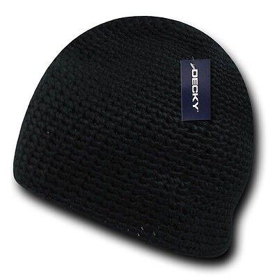 Black Knit Braid Warm Winter Ski Cuffless Crochet Beanie Beanies Cap Hat Hats