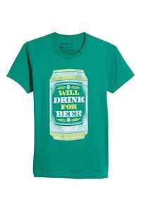 The-Rail-men-039-s-Short-Sleeve-Green-Graphic-Tee-WILL-DRINK-FOR-BEER