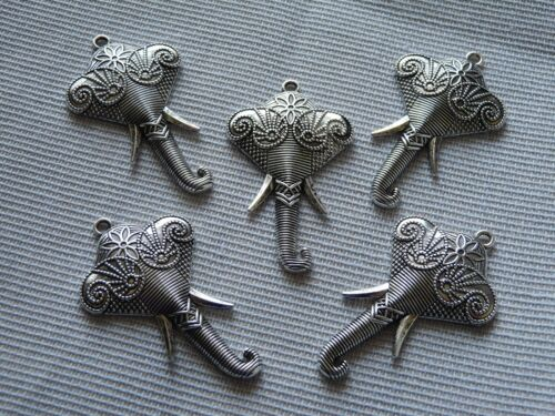 4x Large Elephant Pendant for Necklace Lucky Charms for Bracelet Animal Keychain