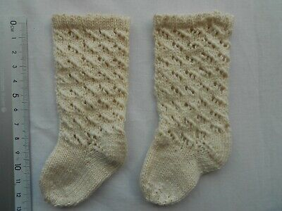 8cm White  Antique Doll socks,100/% Cotton,Handknitted