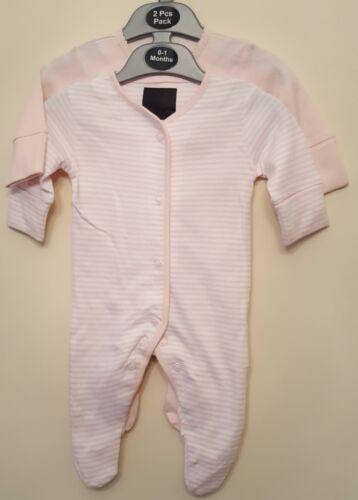 Bébé Garçons Filles Ex High Street 2 Pack Babygrow Sleepsuit Nightwear