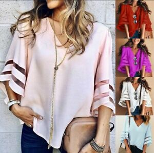 Summer-Fashion-V-Neck-Women-Casual-Sexy-Loose-Half-Sleeve-Lace-Blouse-Tops-Shirt