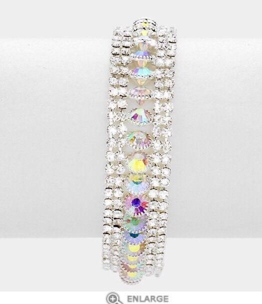 Aurora Borealis Chain Cuff Pageant Silver Ab Crystal Rhinestone Bracelet Bridal Ebay