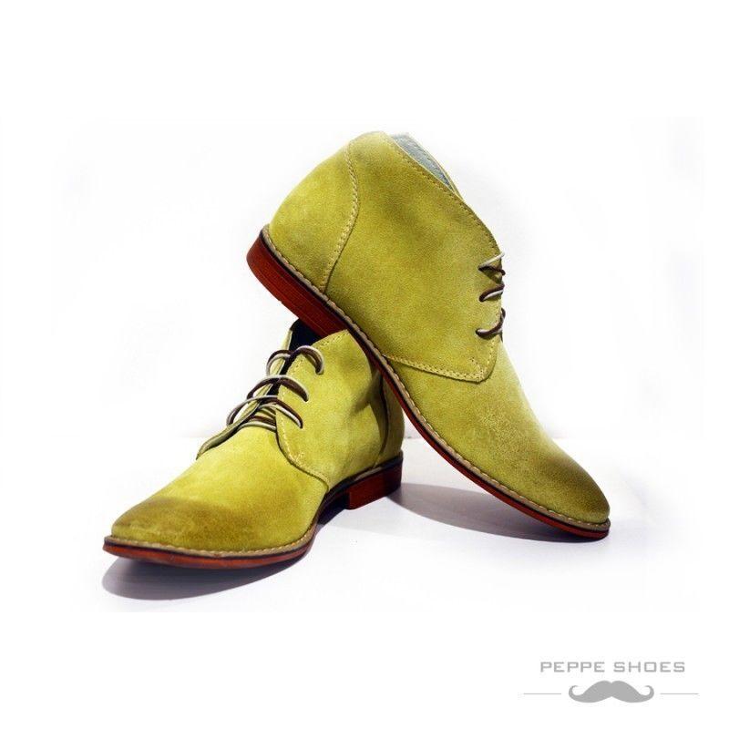 Modello Pisa - Handmade Colorful Italian Leather Shoes Chukka Boots Yellow
