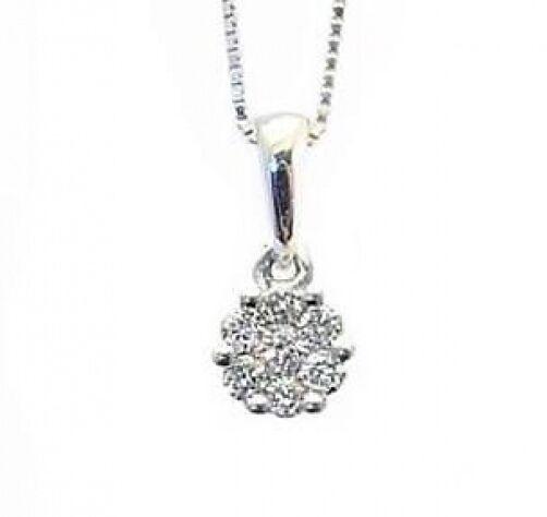 gold Diamond Pendant 14K White gold White Diamond Flower Cluster Pendant .10ct