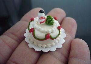 Snowman Christmas Cake Dollhouse Miniature Food Bakery Holiday X/'mas 13