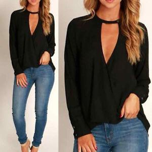 Fashion-New-Women-Choker-V-Neck-Loose-Casual-Long-Sleeve-Tops-Blouse-Shirt-Black