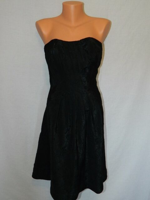 Womens White House Black Market Black Strapless Floral Dress Size