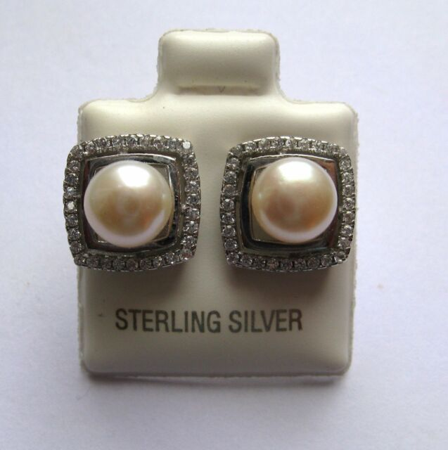 Sterling Silver Freshwater pearl in square cubic zirconia halo stud earrings
