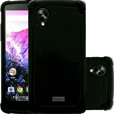 Black Dual Layer Hybrid Hard Case For Google Nexus 5 LG-D820