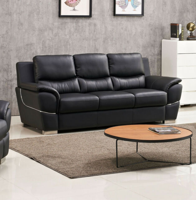 Sofa And Loveseat 2pc Set Black Leather Air Living Room Furniture Metal legs