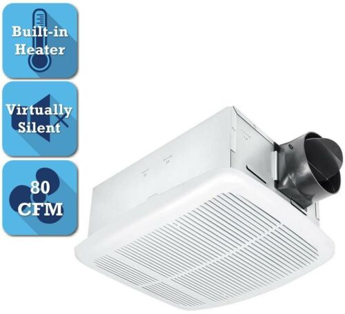 Bathroom Ceiling Exhaust Fan 80 CFM Built-In Thermostat Heater Included