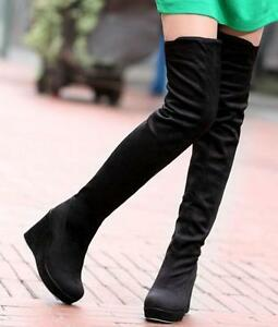 Womens-High-Wedge-Heels-Over-the-Knee-thigh-Boots-Tight-Leg-Stretchy-shoes