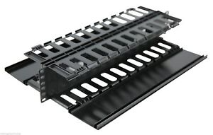 2U-Horizontal-Server-Rack-Double-Sided-Finger-Duct-Cable-Manager-Panel-Organize