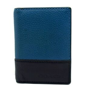 b93827ed Details about Coach Mens Leather ID Card Wallet Holder Blue & Black