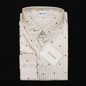 NWT BRIONI Ivory Gold Dollar Sign Striped Silk L//S Button Up Dress Shirt S