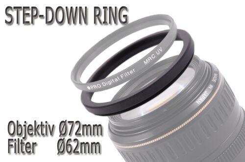 62mm 72-62mm Adaptador filtro adaptador anillo step-down 72mm