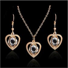 GOLD TONE CAGED HEART DROP CLEAR FACETED CRYSTAL PENDANT NECKLACE EARRINGS SET
