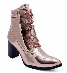 Détails sur Femme or Rose Bloc Talon Lacets Bottines Militaire à Bout Pointu Bottes Chaussures Tailles 3 9 afficher le titre d'origine