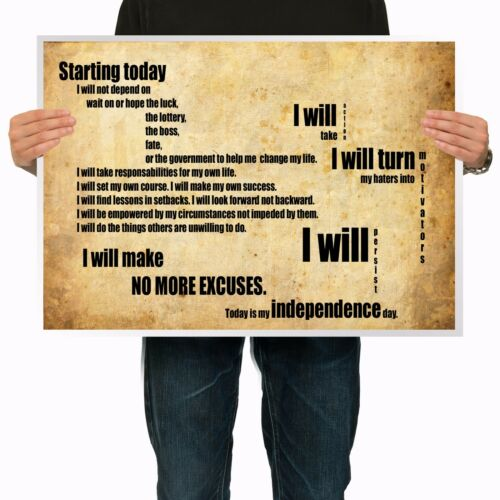 Motivational Quote Wall Art Silk Poster Inspirational slogan Success Saying MG10