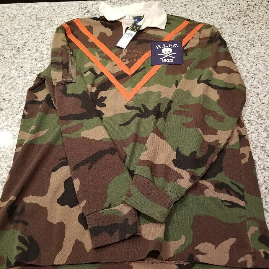 Polo Ralph Lauren Shirt Rugby Skull & Crossbones Logo Camo L S S M L XL Green MU